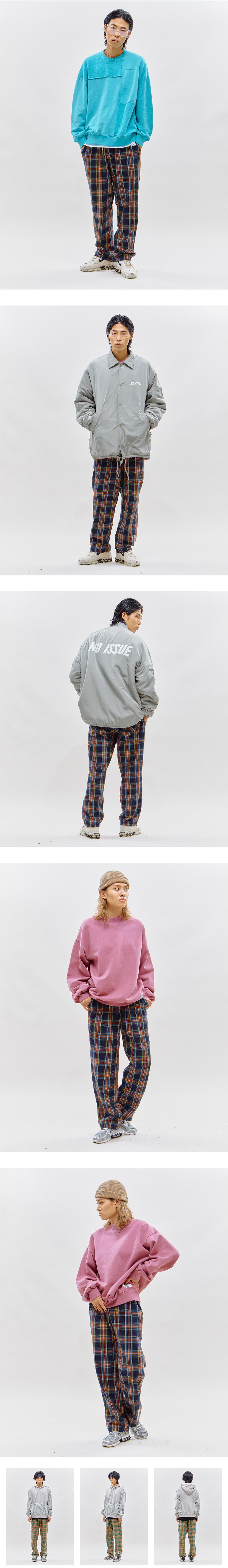 리버스 서울(REVERSE SEOUL) 더블 체크 팬츠[네이비]